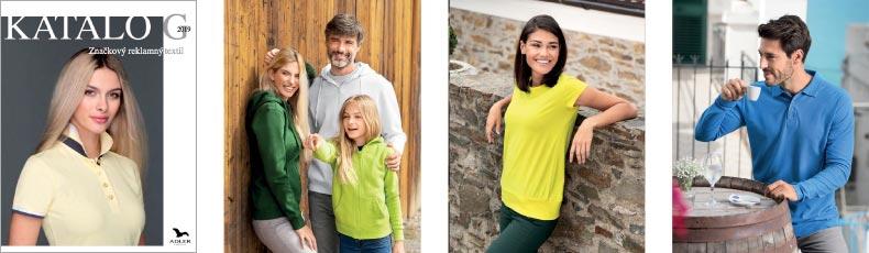 Katalóg reklamné predmety textil tričká polokošele 2019 Adler