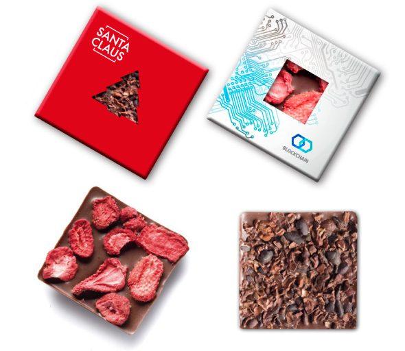 Čokoláda s okienkom a posypom s logom