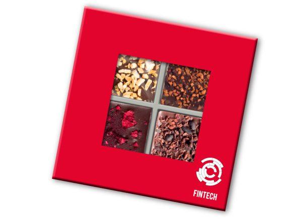 Kolekcia 4 čokolád s posypmi s logom