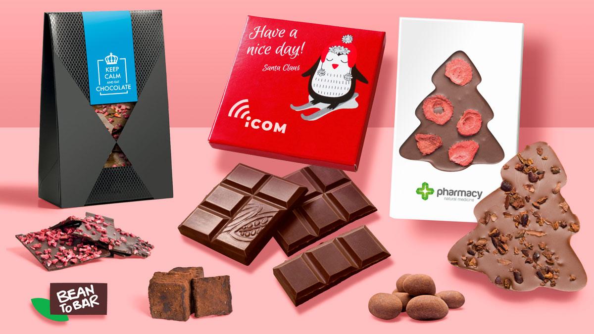 Čokoládové tabuľky, truffle, čokoládové čipsy a dražé. Výberová čokoláda s vašim logom. Čokoládové reklamné predmety